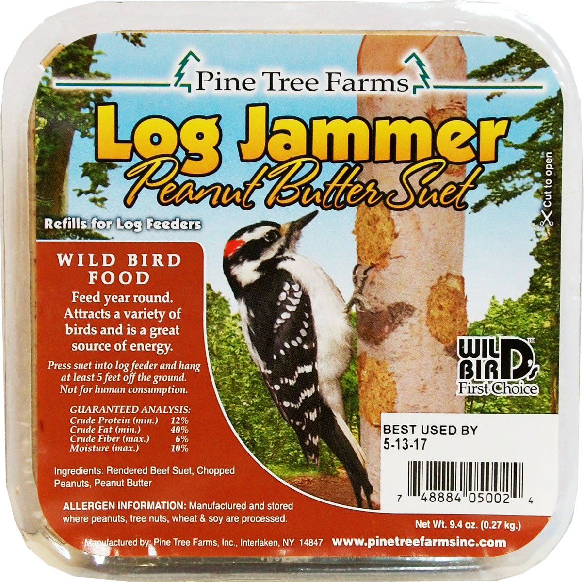 Pine Tree Farms Log Jammer Peanut Butter Suet Wild Bird Food, 9.4-oz