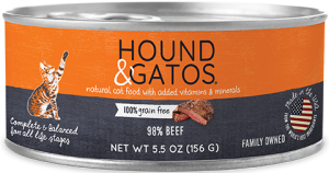 Hound & Gatos Beef Formula Grain-Free Canned Cat Food, 5.5-oz can