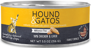 Hound & Gatos Chicken & Chicken Liver Formula Grain-Free Canned Cat Food, 5.5-oz can