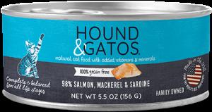Hound & Gatos Salmon, Mackerel, Sardine Formula Grain-Free Canned Cat Food, 5.5-oz can