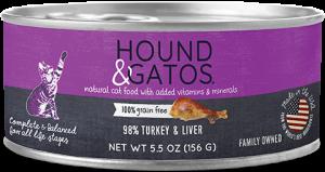 Hound & Gatos Turkey Formula Grain-Free Canned Cat Food, 5.5-oz can