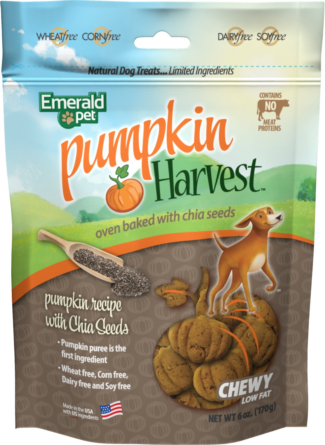 Emerald Pet Pumpkin Harvest Oven Baked With Chia Seed Dog Treats, 6-oz
