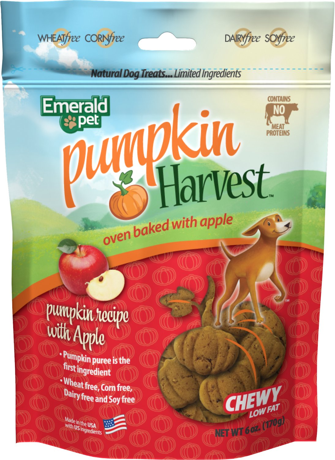 Emerald Pet Pumpkin Harvest Oven Baked With Apple Dog Treats, 6-oz