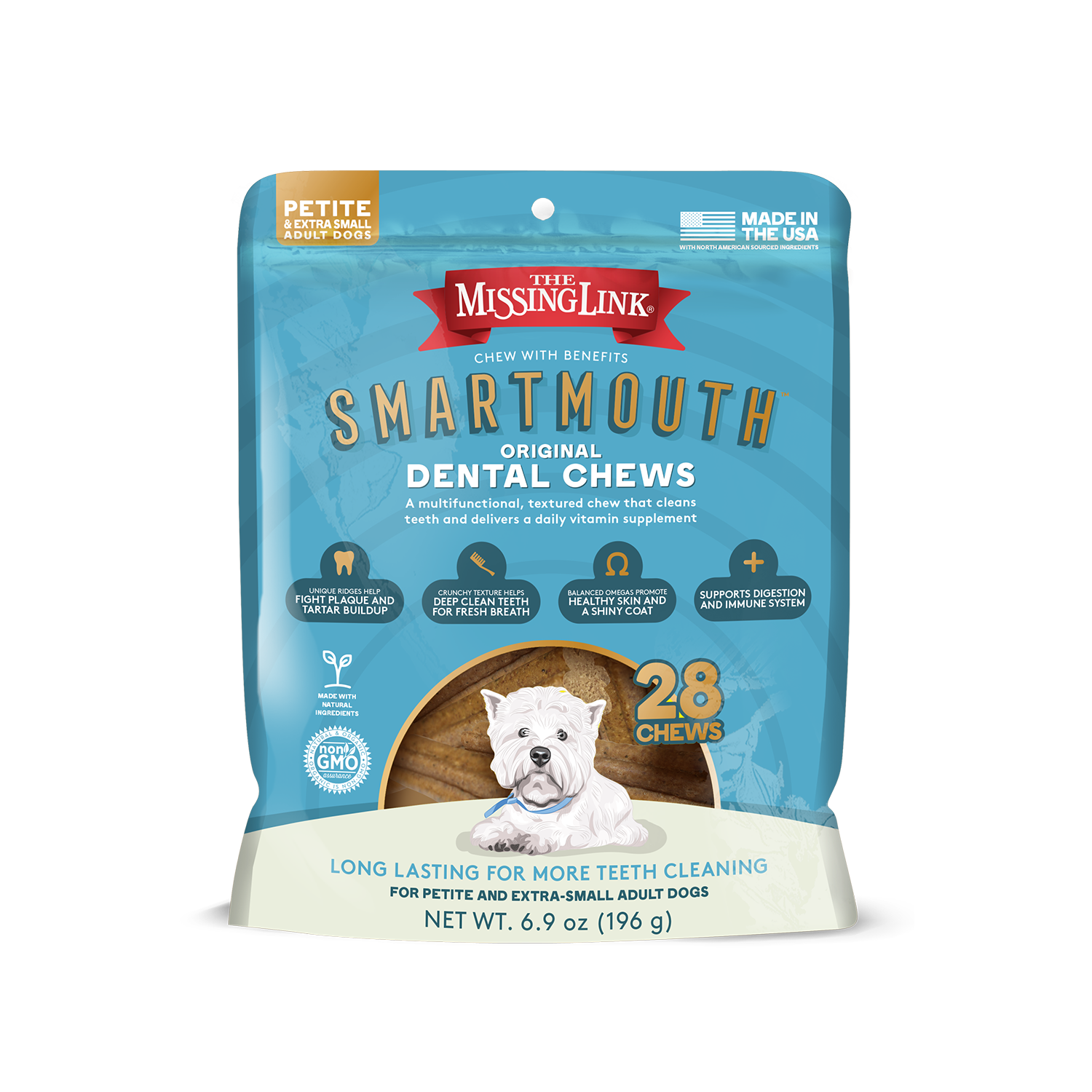 The Missing Link Smartmouth Petite/Extra Small Dental Dog Chews, 28-count