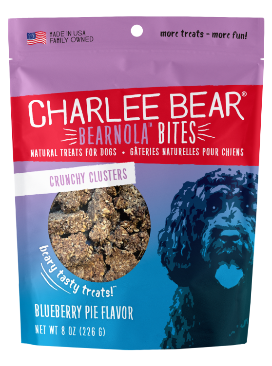 Charlee Bear Bearnola Bites Crunchy Granola Clusters Natural Dog Treats, Blueberry Pie Flavor, 8-oz bag