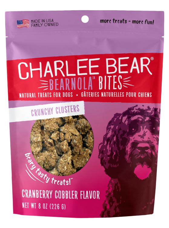 Charlee Bear Bearnola Bites Crunchy Granola Clusters Natural Dog Treats, Cranberry Cobbler Flavor, 8-oz bag