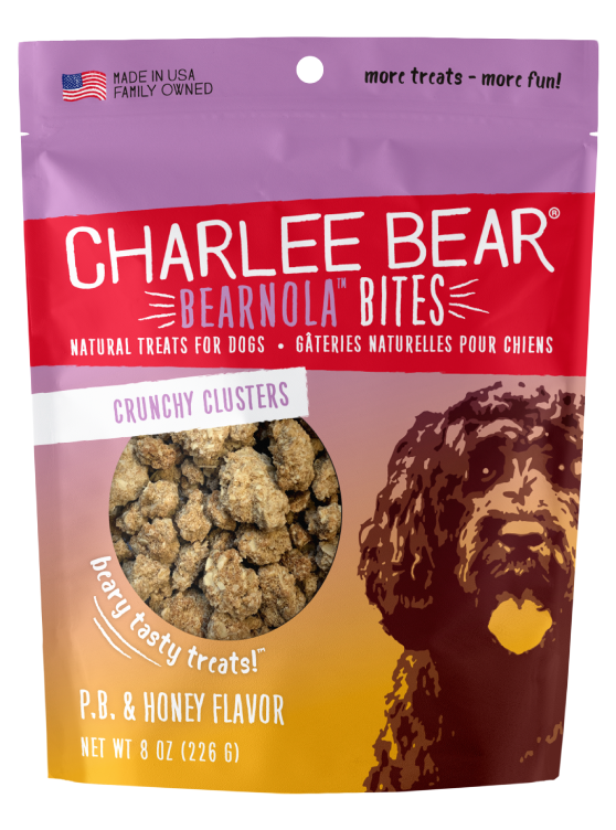 Charlee Bear Bearnola Bites Crunchy Granola Clusters Natural Dog Treats, Peanut Butter & Honey Flavor, 8-oz bag