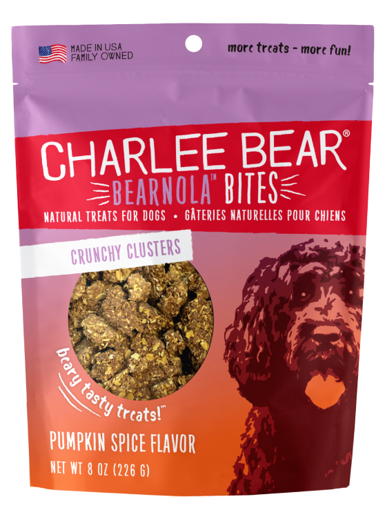 Charlee Bear Bearnola Bites Crunchy Granola Clusters Natural Dog Treats, Pumpkin Spice Flavor, 8-oz bag