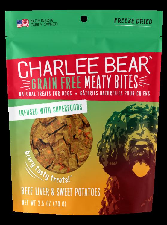 Charlee Bear Grain-Free Meaty Bites Natural Dog Treats, Beef Liver & Sweet Potatoes, 2.5-oz bag