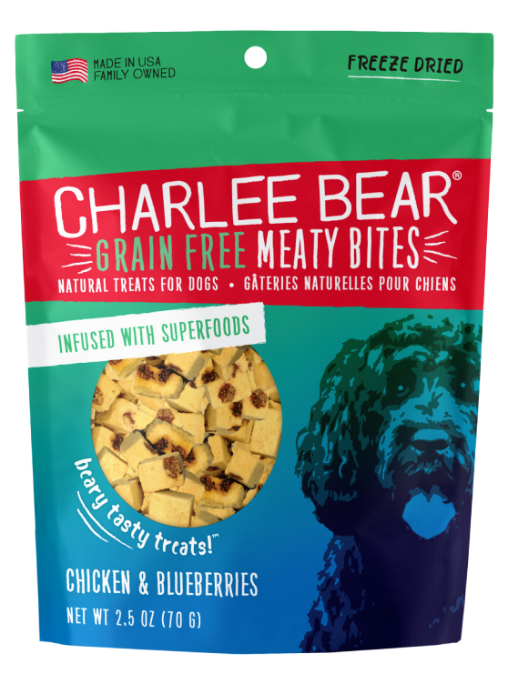 Charlee Bear Grain-Free Meaty Bites Natural Dog Treats, Chicken & Blueberries, 2.5-oz bag