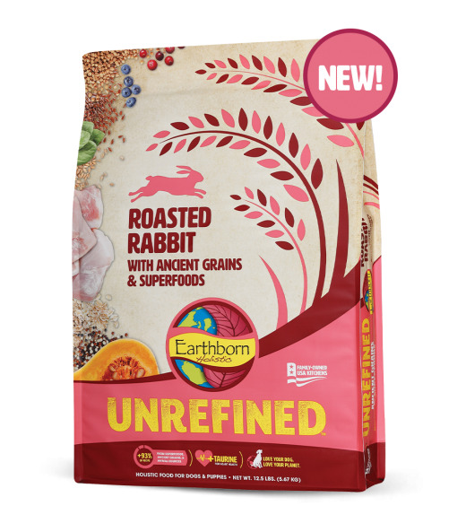 Earthborn Unrefined Dry Dog Food with Ancient Grains & Superfoods, Roasted Rabbit, 25-lb bag