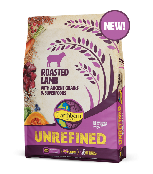 Earthborn Unrefined Dry Dog Food with Ancient Grains & Superfoods, Roasted Lamb, 25-lb bag