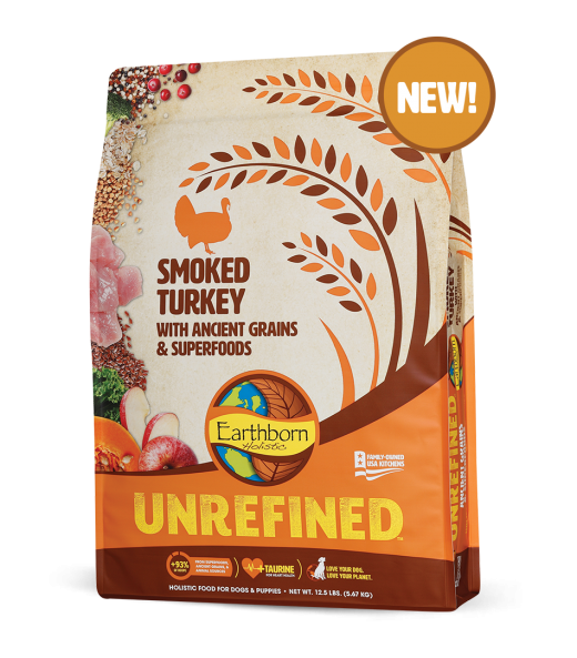 Earthborn Unrefined Dry Dog Food with Ancient Grains & Superfoods, Smoked Turkey, 4-lb bag