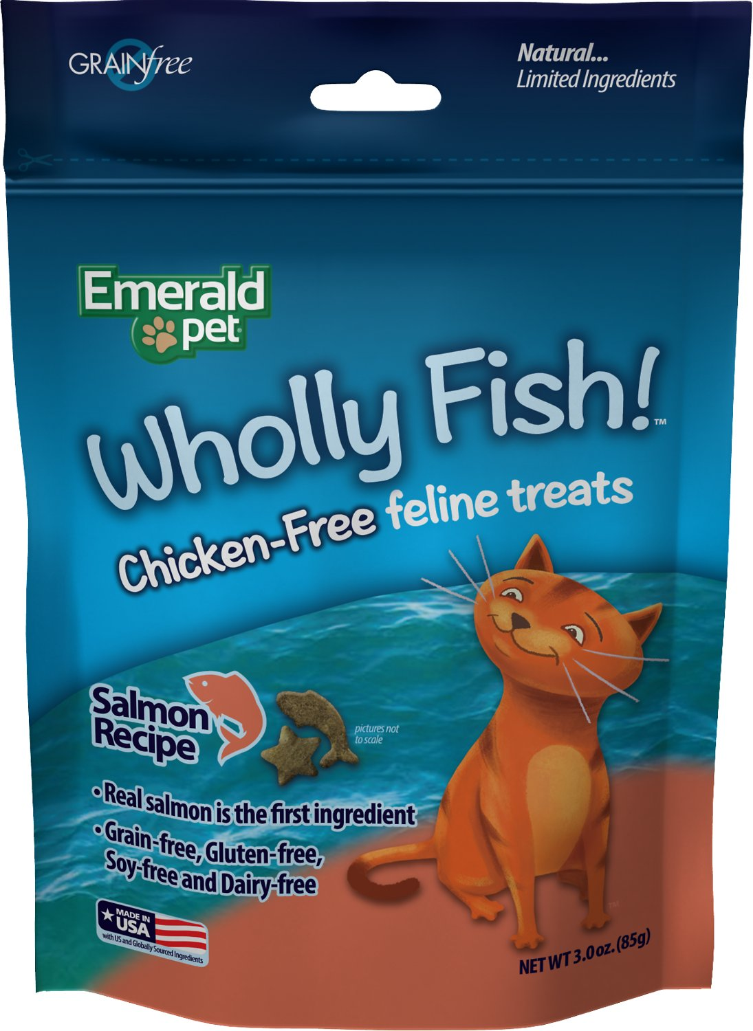 Emerald Pet Wholly Fish! Salmon Recipe Cat Treats, 3-oz