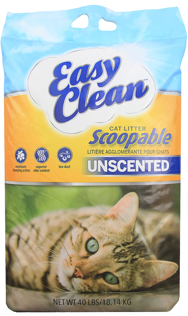 Easy Clean Unscented Scoopable Cat Litter, 40-lb
