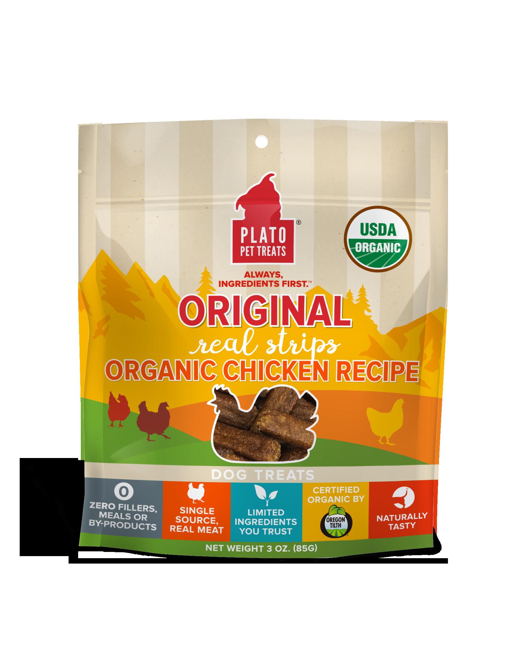 Plato Original Real Strips Organic Chicken Recipe Dog Treats, 3-oz