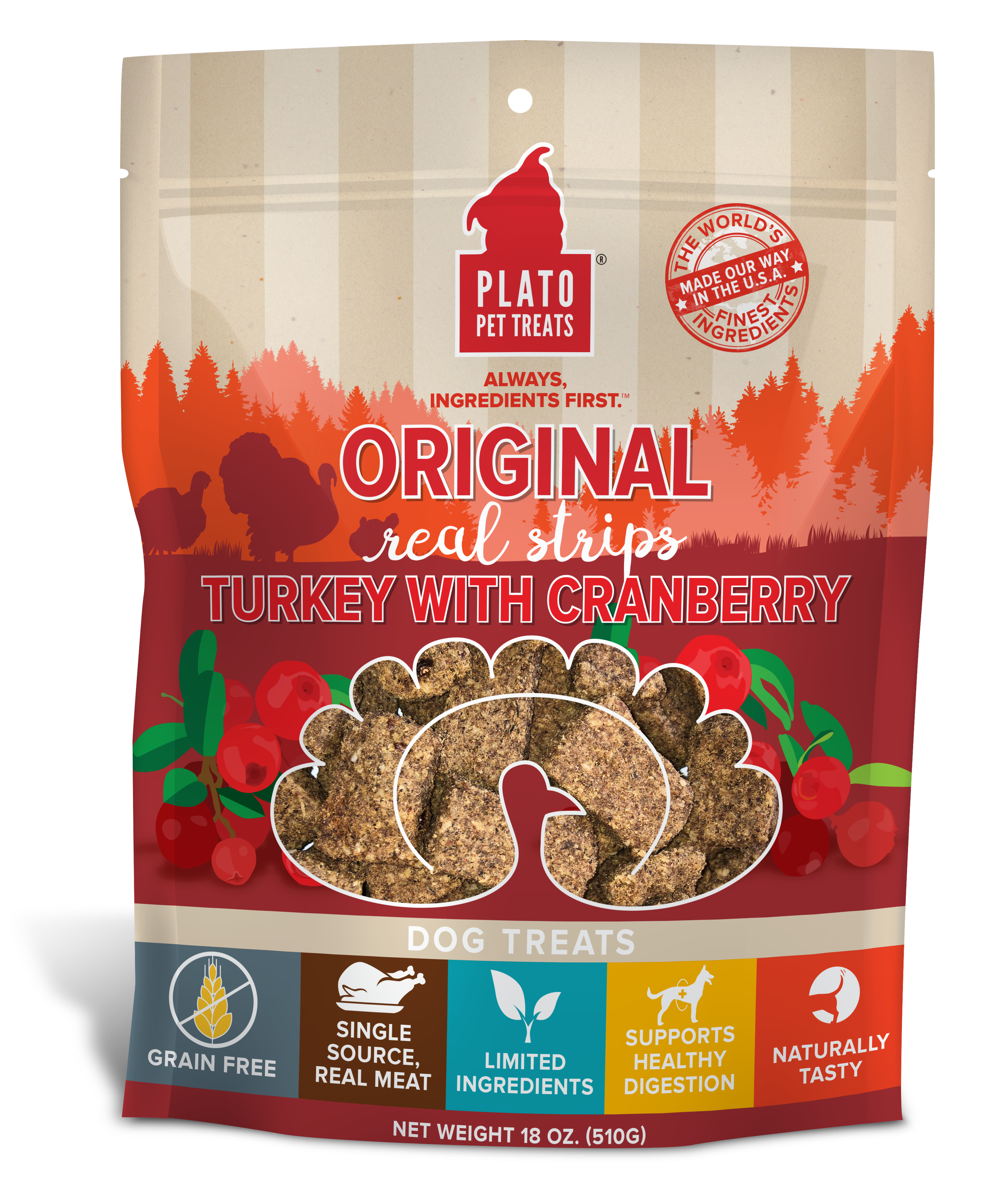 Plato Original Real Strips Turkey With Cranberry Dog Treat, 18-oz