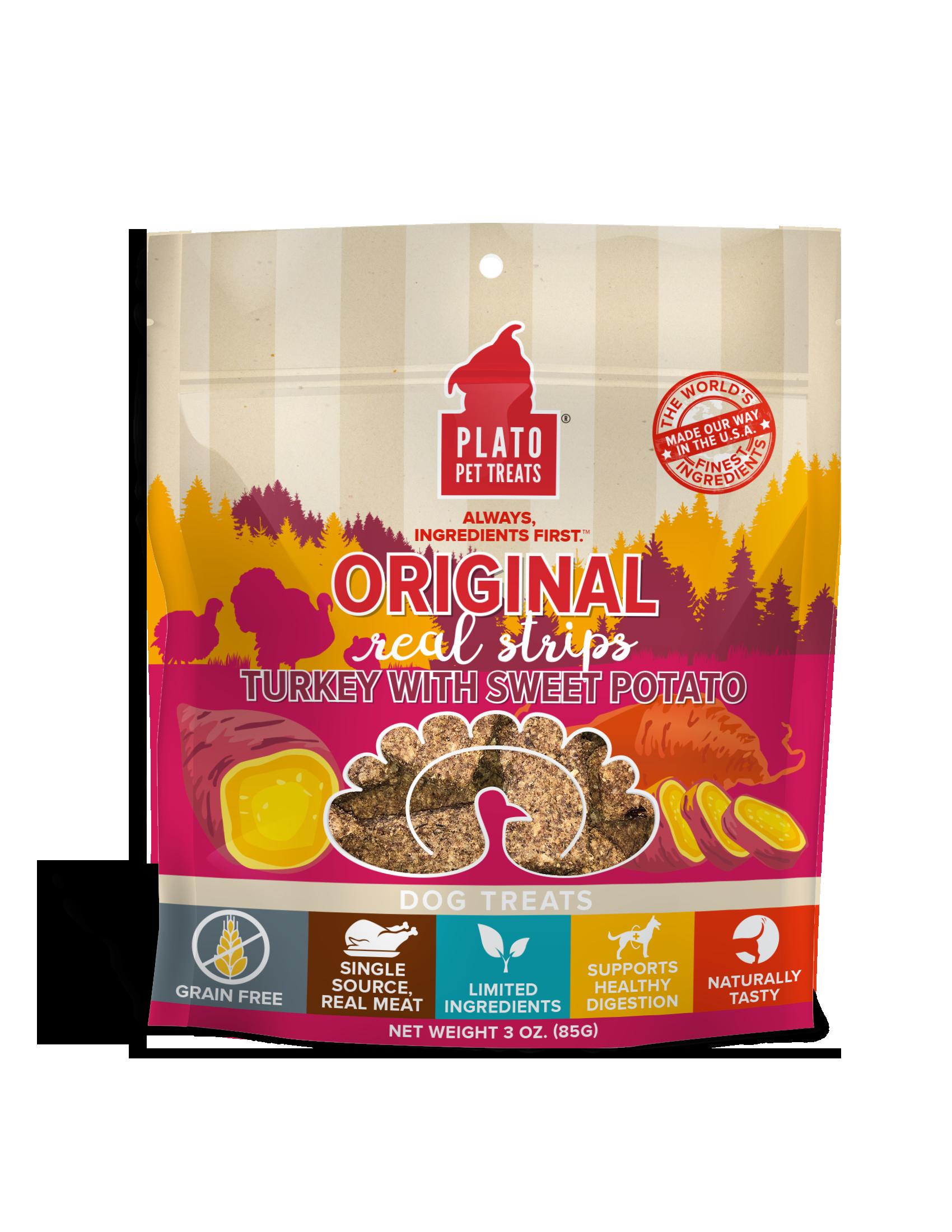 Plato Original Real Strips Turkey With Sweet Potato Dog Treat, 3-oz