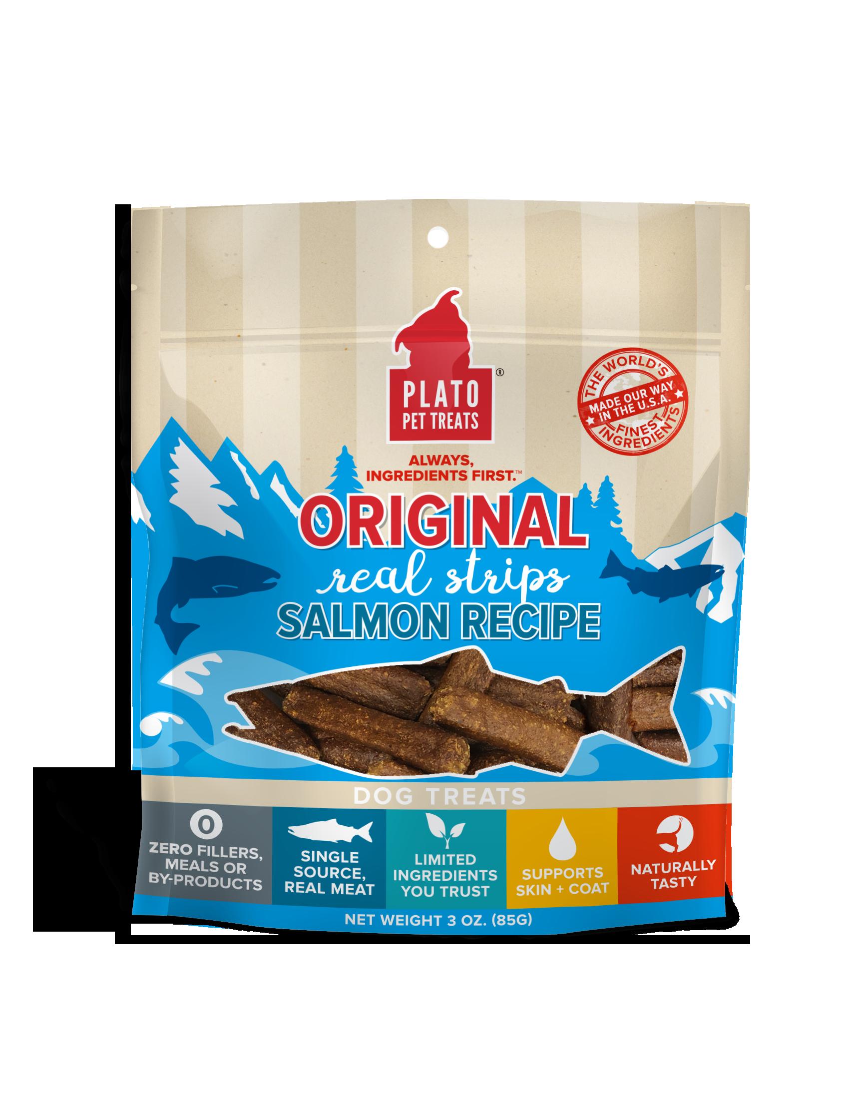 Plato Original Real Strips Salmon Recipe Dog Treats, 3-oz bag