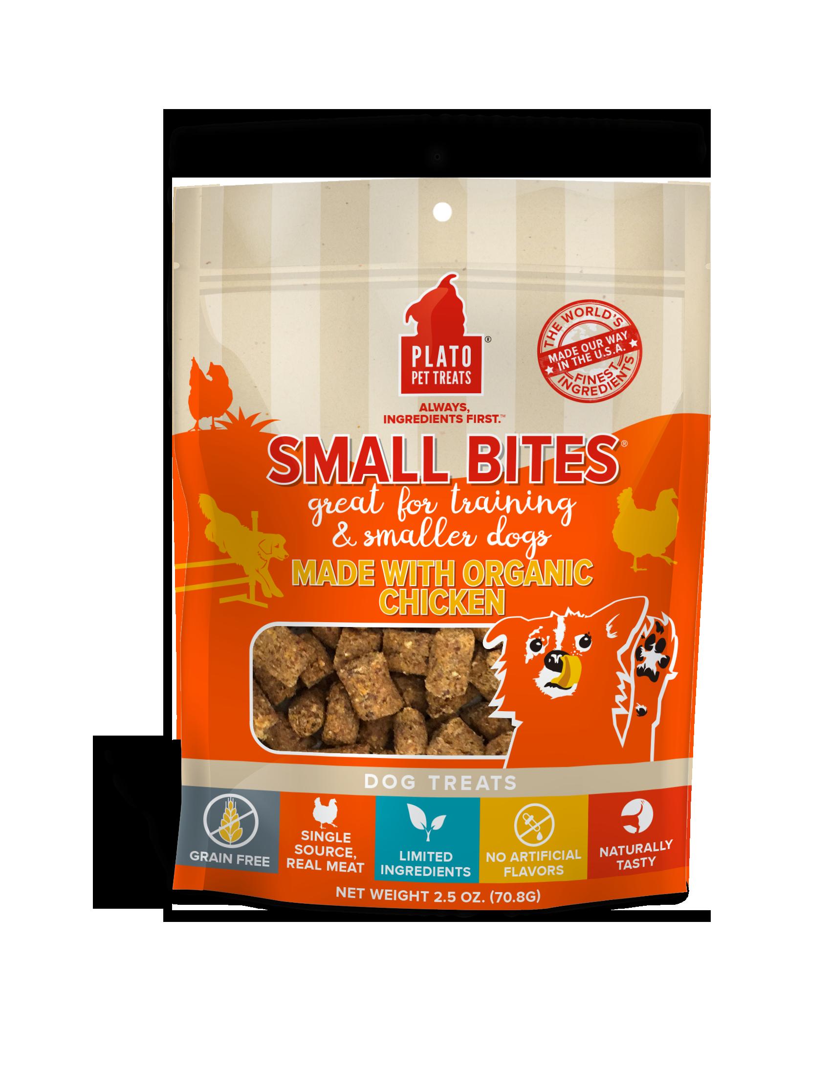 Plato Small Bites Organic Chicken Dog Treats, 2.5-oz