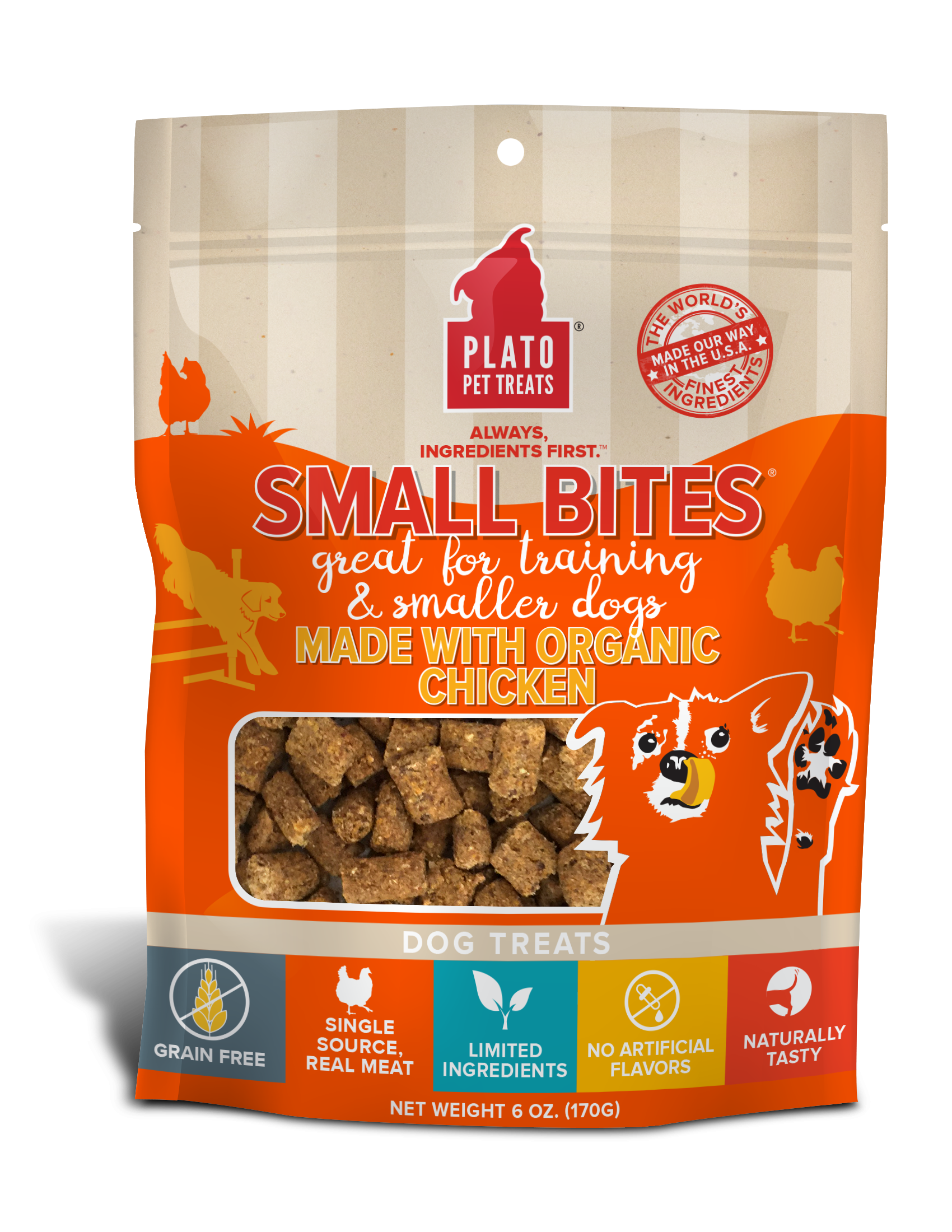 Plato Small Bites Organic Chicken Dog Treats, 6-oz