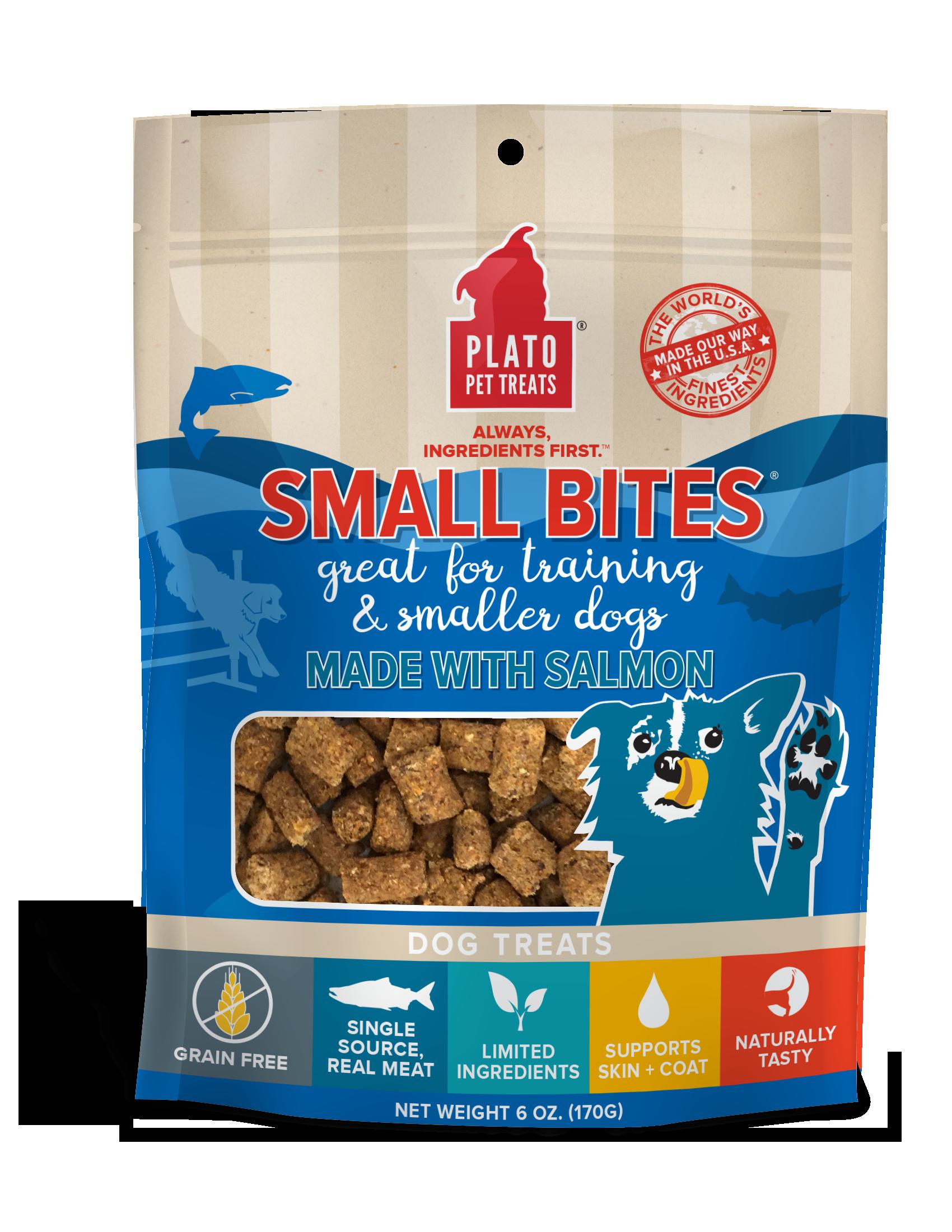 Plato Small Bites Salmon Dog Treats, 6-oz
