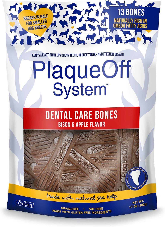 ProDen PlaqueOff System Dental Care Bones Bison & Apple Flavor Dental Dog Chew, 17-oz