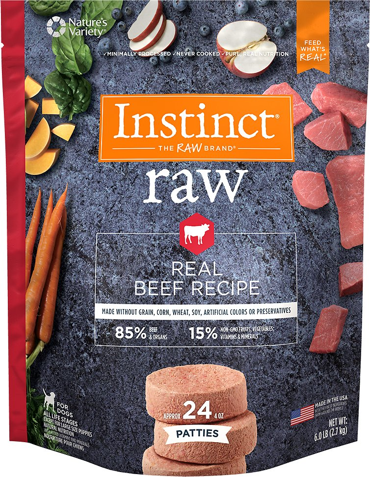 Instinct by Nature's Variety Frozen Raw Patties Grain-Free Real Beef Recipe Dog Food, 6-lb (Size: 6-lb) Image