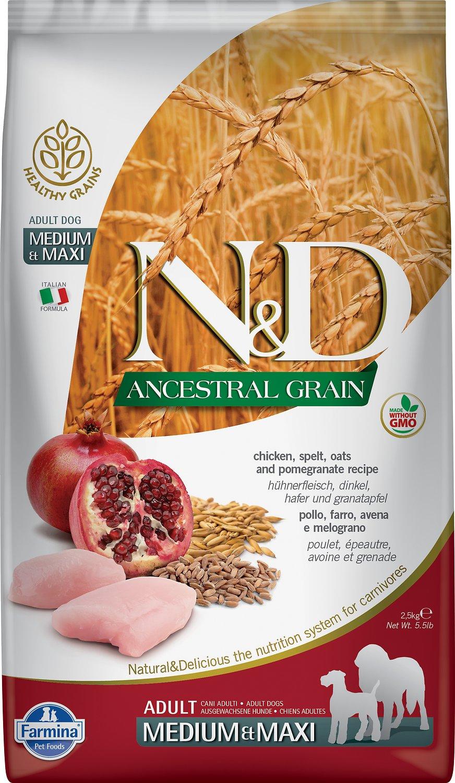 Farmina N&D Ancestral Grain Chicken & Pomegranate Medium & Maxi Adult Dry Dog Food, 5.5-lb bag
