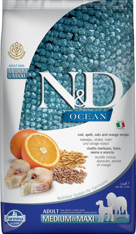 Farmina N&D Ocean Cod, Spelt, Oats & Orange Medium & Maxi Adult Dry Dog Food, 5.5-lb