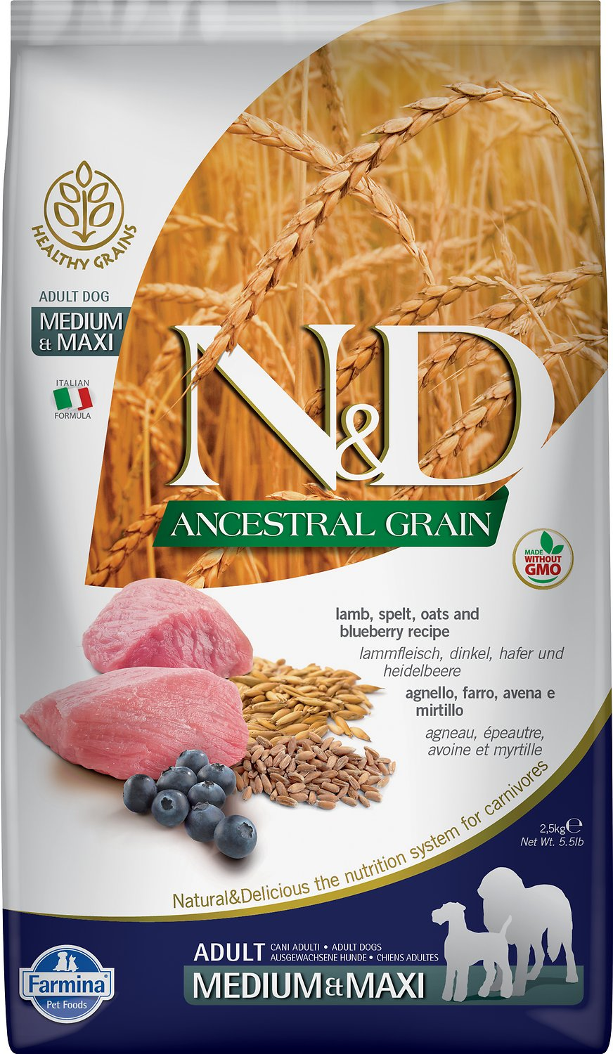 Farmina N&D Ancestral Grain Lamb & Blueberry Medium & Maxi Adult Dry Dog Food Image