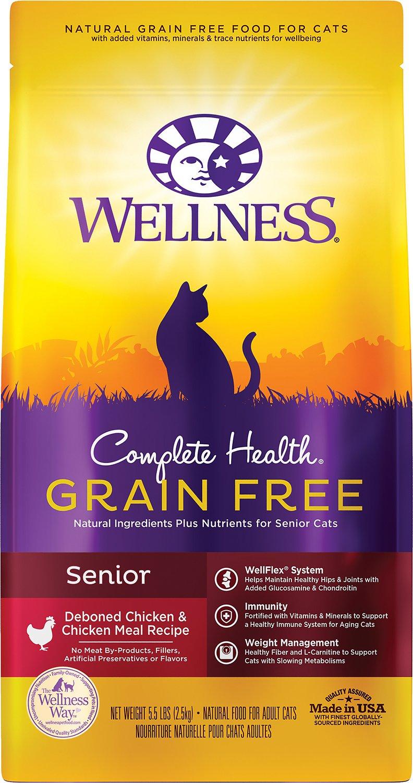 Wellness Complete Health Chicken & Deboned Chicken Grain-Free Senior Dry Cat Food, 5.5-lb