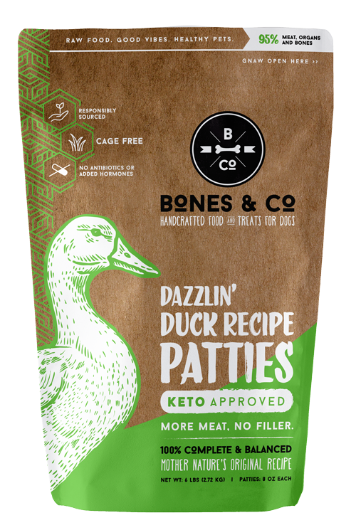 Bones & Co Dazzlin' Duck Recipe Patties Frozen Dog Food, 6-lb