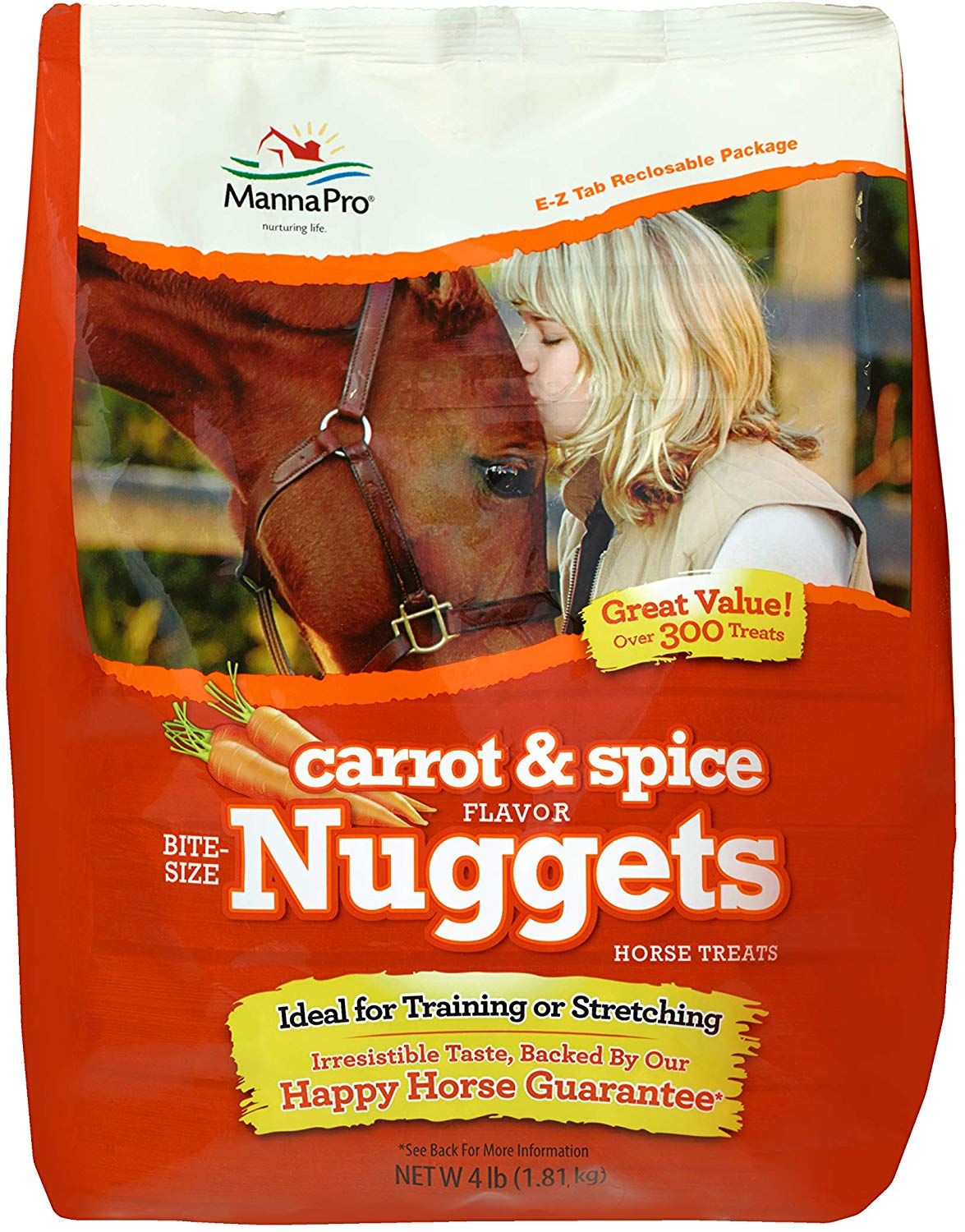 Manna Pro Carrot & Spice Flavored Nuggets Horse Treats, 4-lb