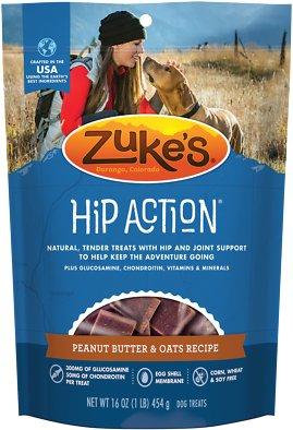 Zuke's Hip Action Peanut Butter & Oats Recipe Dog Treats, 1-lb bag