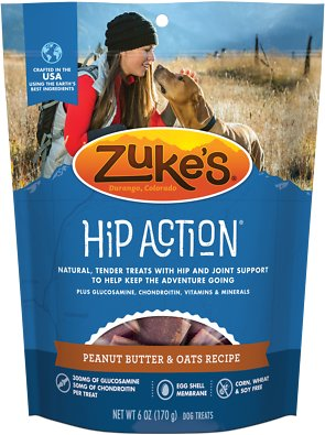 Zuke's Hip Action Peanut Butter & Oats Recipe Dog Treats, 6-oz bag