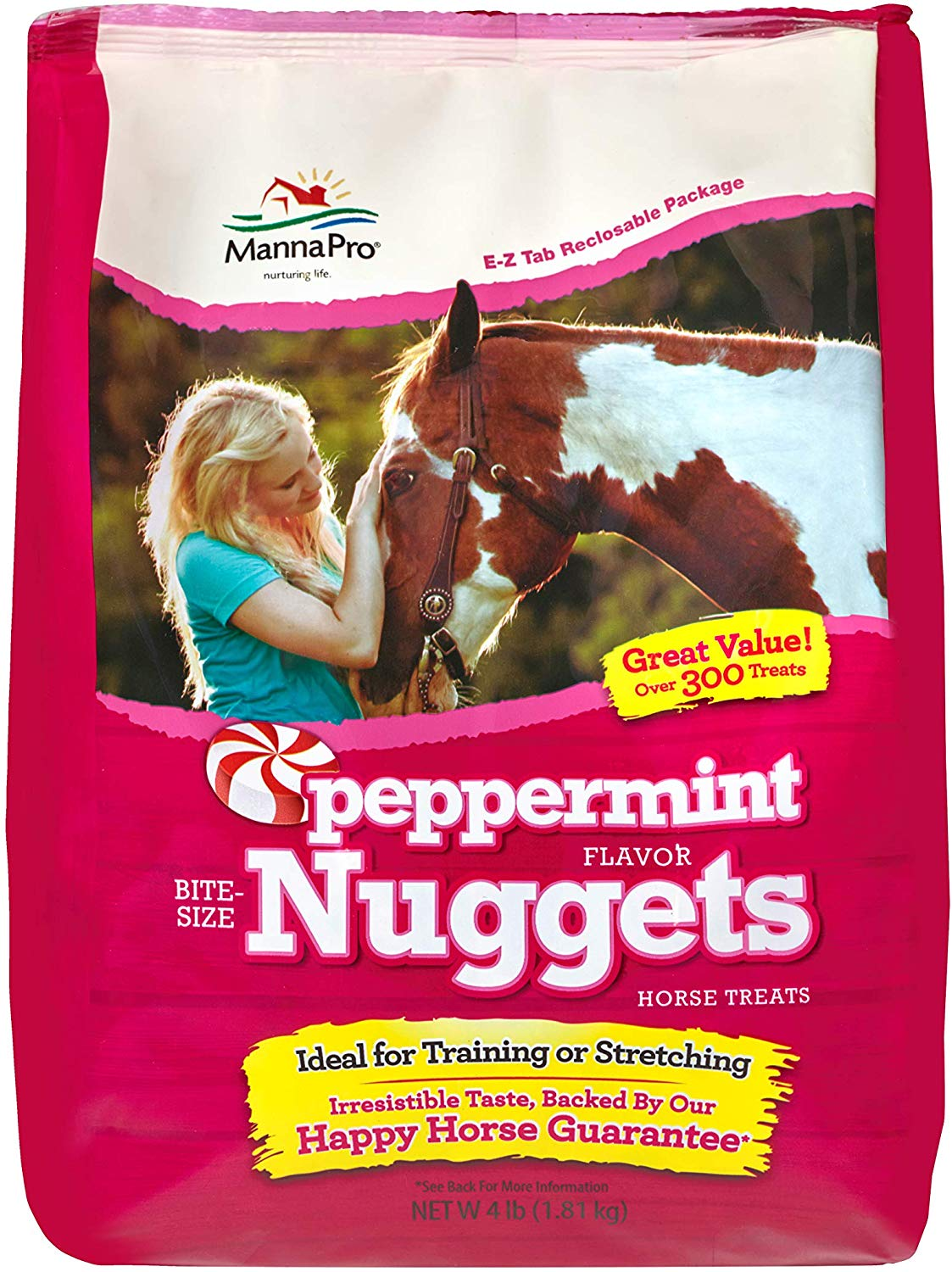 Manna Pro Peppermint Flavored Nuggets Horse Treats, 4-lb