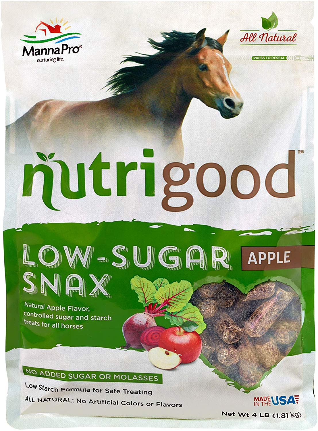 Manna Pro Nutrigood Low-Sugar Snax Apple Flavored Horse Treats, 4-lb
