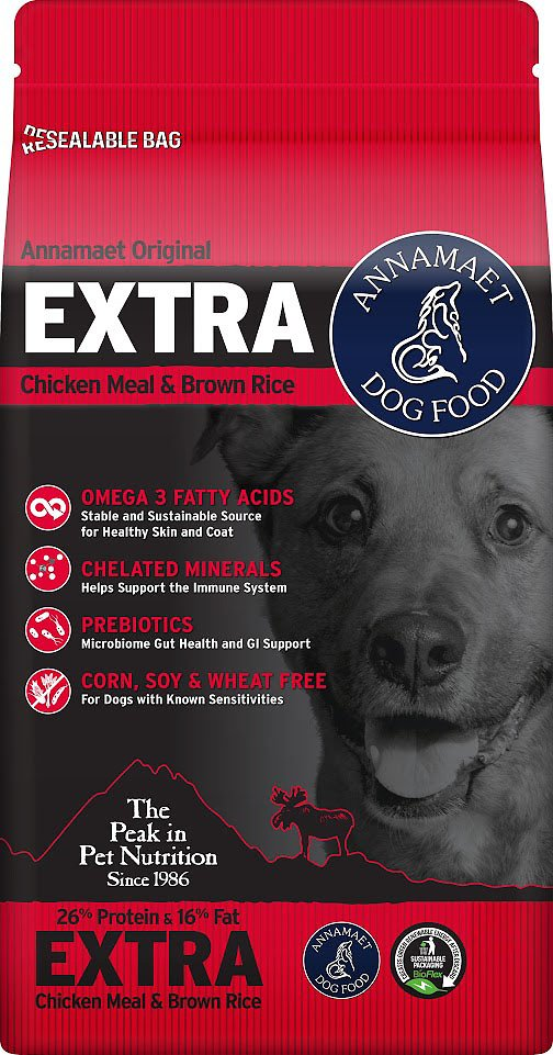 Annamaet Extra 26% Dry Dog Food, 12-lb bag