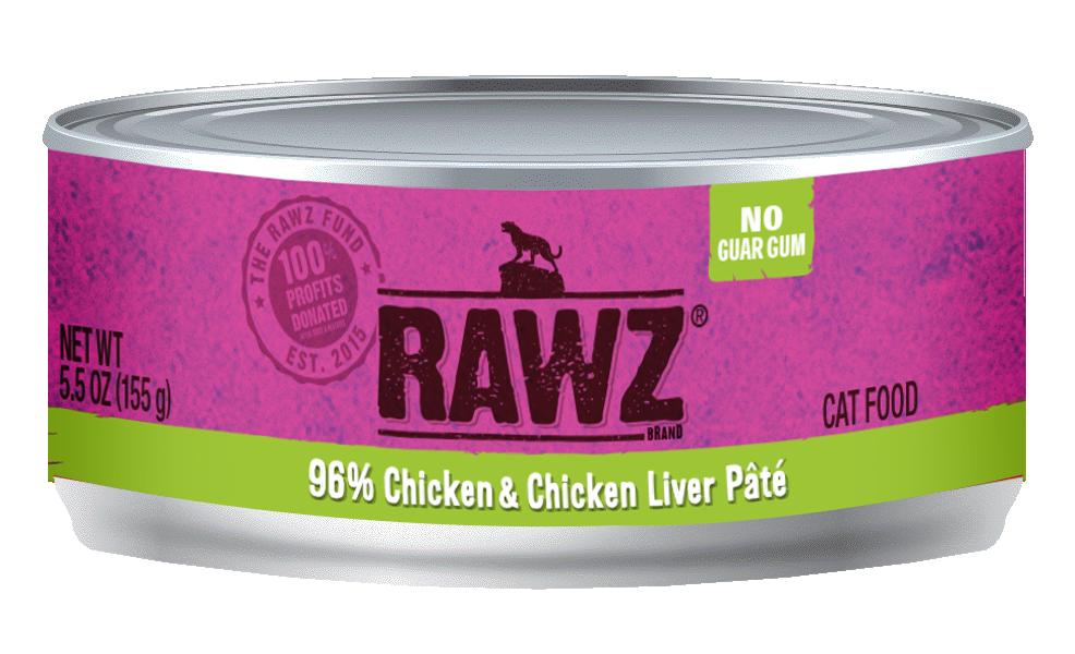 RAWZ Cat 96% Chicken & Chicken Liver Pate, 3-oz can