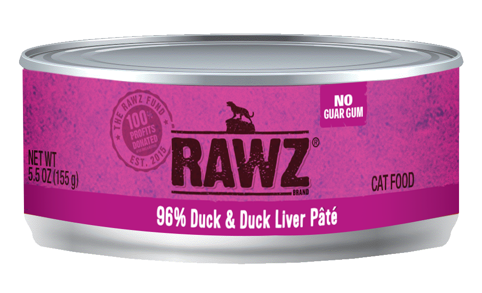RAWZ Cat 96% Duck & Duck Liver Pate, 3-oz can