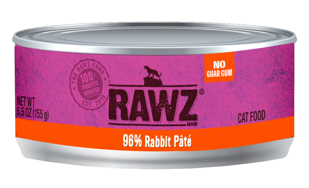 RAWZ Cat 96% Rabbit Pate, 3-oz can