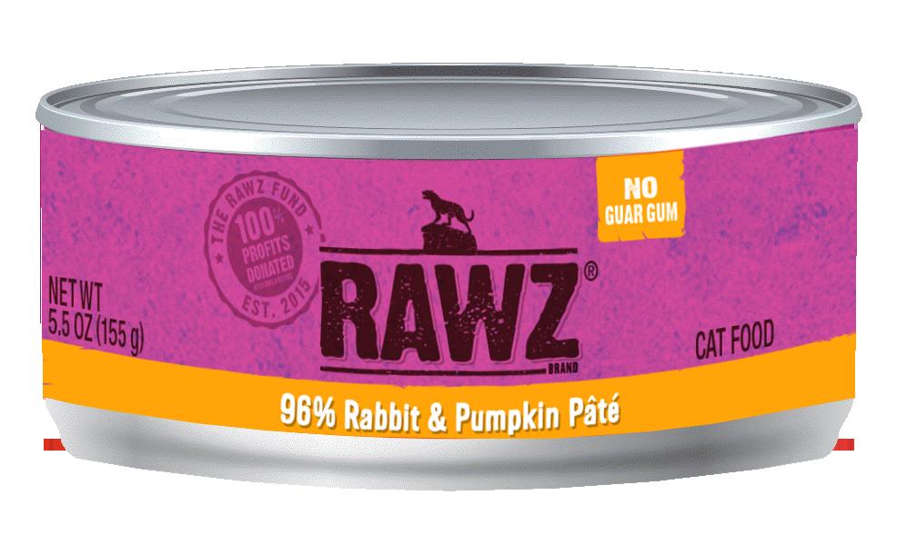 Rawz 96% Rabbit & Pumpkin Pate Canned Cat Food, 3-oz can