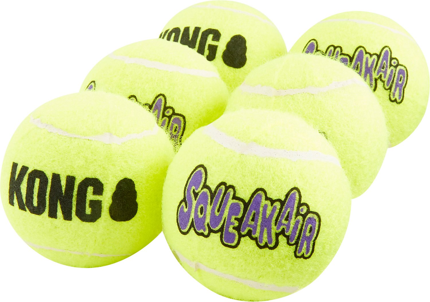 KONG SqueakAir Balls Packs Dog Toy, Medium, 6-count (Size: Medium, 6-count) Image