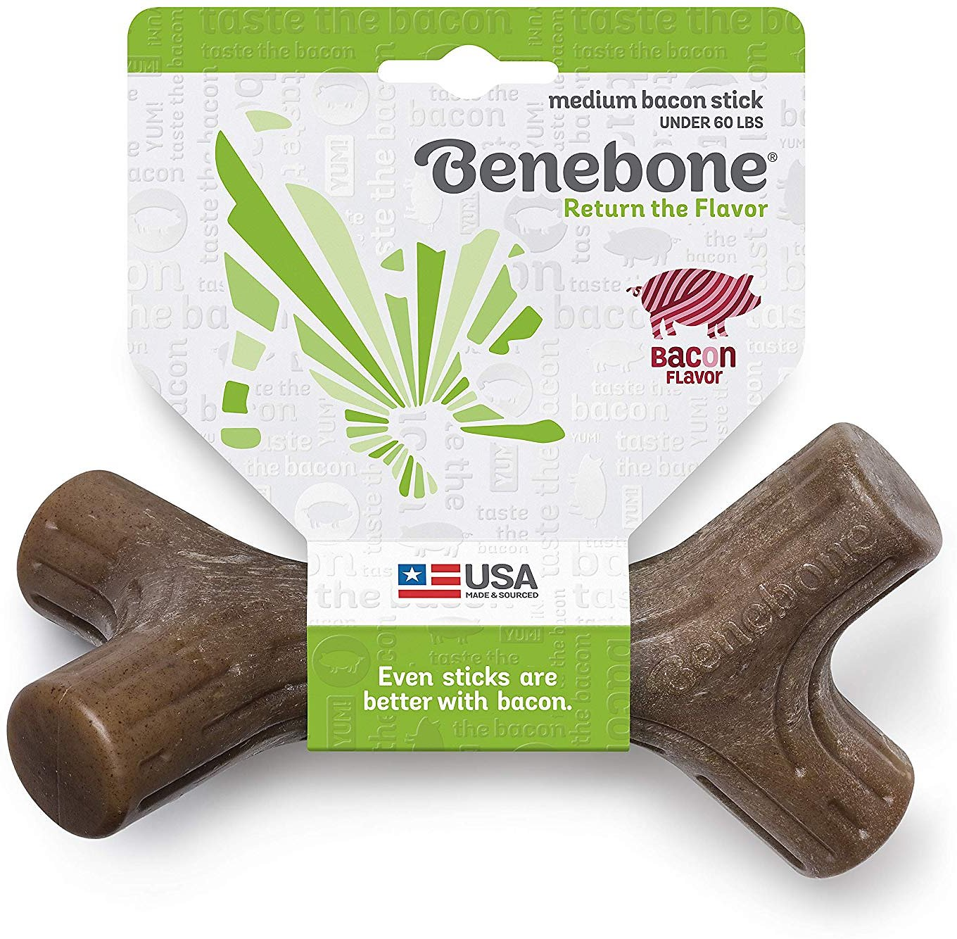Benebone Bacon Stick Dog Chew Toy, Medium