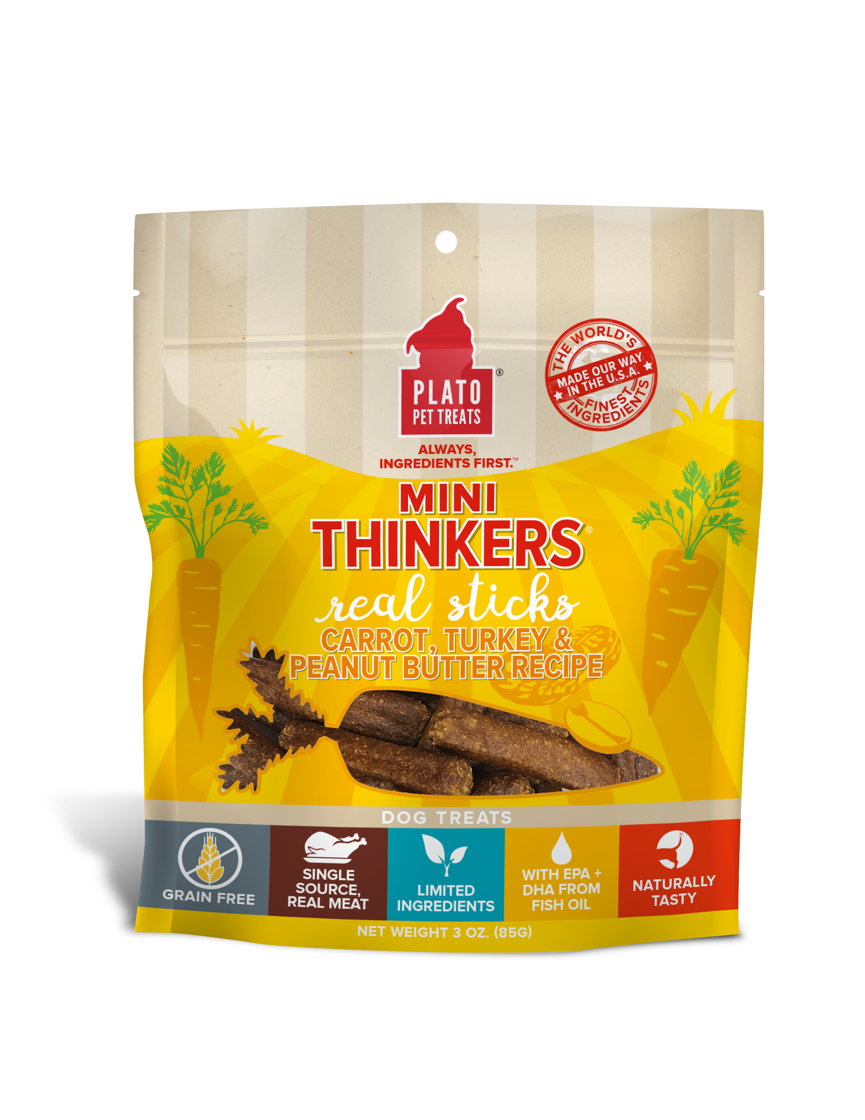Plato Mini Thinkers Carrot, Turkey & Peanut Butter Recipe Grain-Free Dog Treats, 3-oz