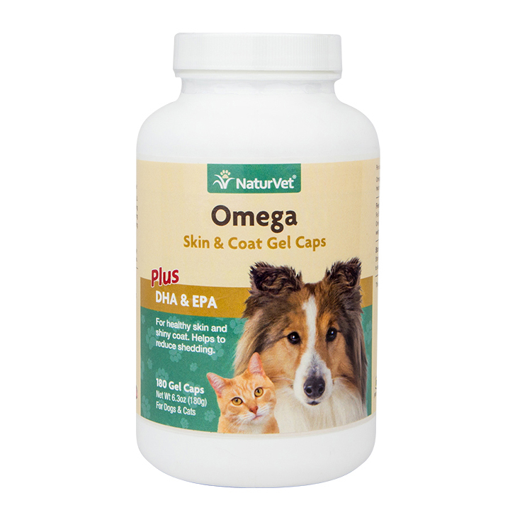 NaturVet Omega Skin & Coat Gel Caps Dog & Cat Supplement, 180-count