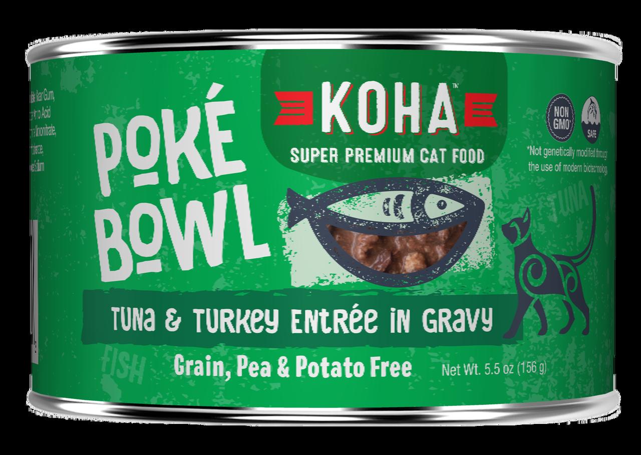 Koha Cat Poke Bowl Tuna & Turkey Entrée in Gravy Wet Cat Food, 5.5-oz