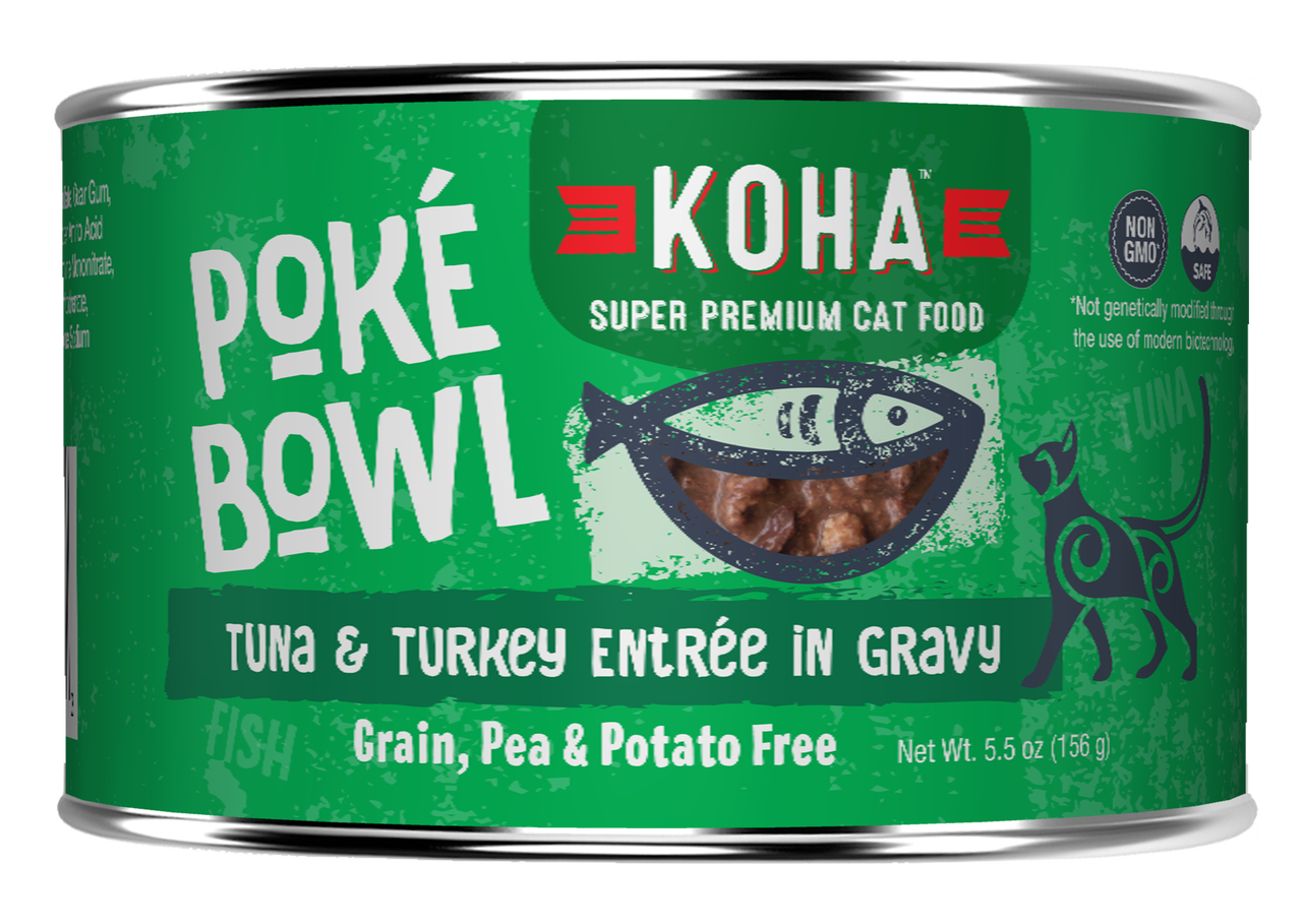 Koha Cat Poke Bowl Tuna & Turkey Entrée in Gravy Wet Cat Food, 5.5-oz, case of 24