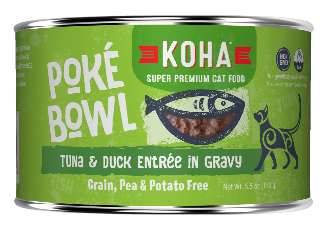 Koha Cat Poke Bowl Tuna & Duck Entrée in Gravy Wet Cat Food, 5.5-oz, case of 24